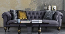Casa Padrino luxury Art Deco Chesterfield living room sofa dark gray / black / brass 230 x 100 x H. 82 cm - Luxury Furniture