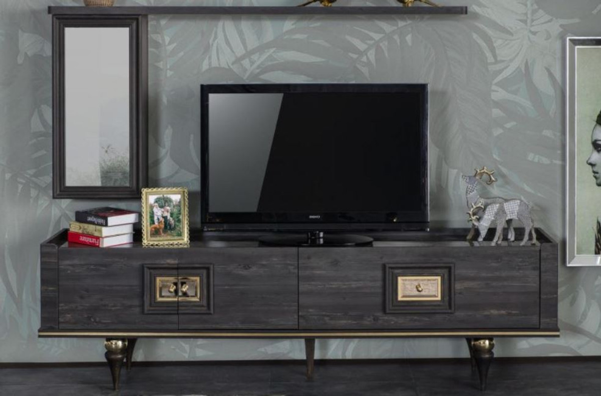 Casa Padrino Luxus Art Deco TV Schrank Grau / Schwarz / Messingfarben 10 x  10 x H. 10 cm - Edler Wohnzimmer Fernsehschrank mit Schublade und 10 Türen