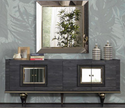 Casa Padrino luxury Art Deco sideboard gray / black / brass 210 x 44 x H. 86 cm - Noble cabinet with 4 doors - Art Deco Furniture
