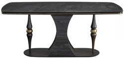 Casa Padrino luxury Art Deco dining table gray / black / brass 183 x 92 x H. 77 cm - Noble dining room table with glass top in marble look - Art Deco dining room furniture