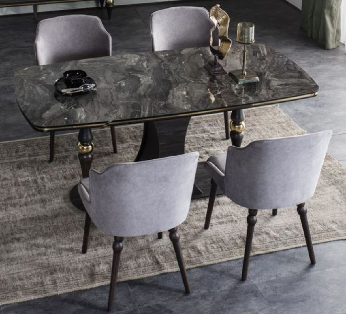 Casa Padrino Luxury Art Deco Dining Room Set Gray Black Brass 1 Dining Room Table With Glass Top In Marble Look 4 Dining Chairs Art Deco Dining Room Furniture