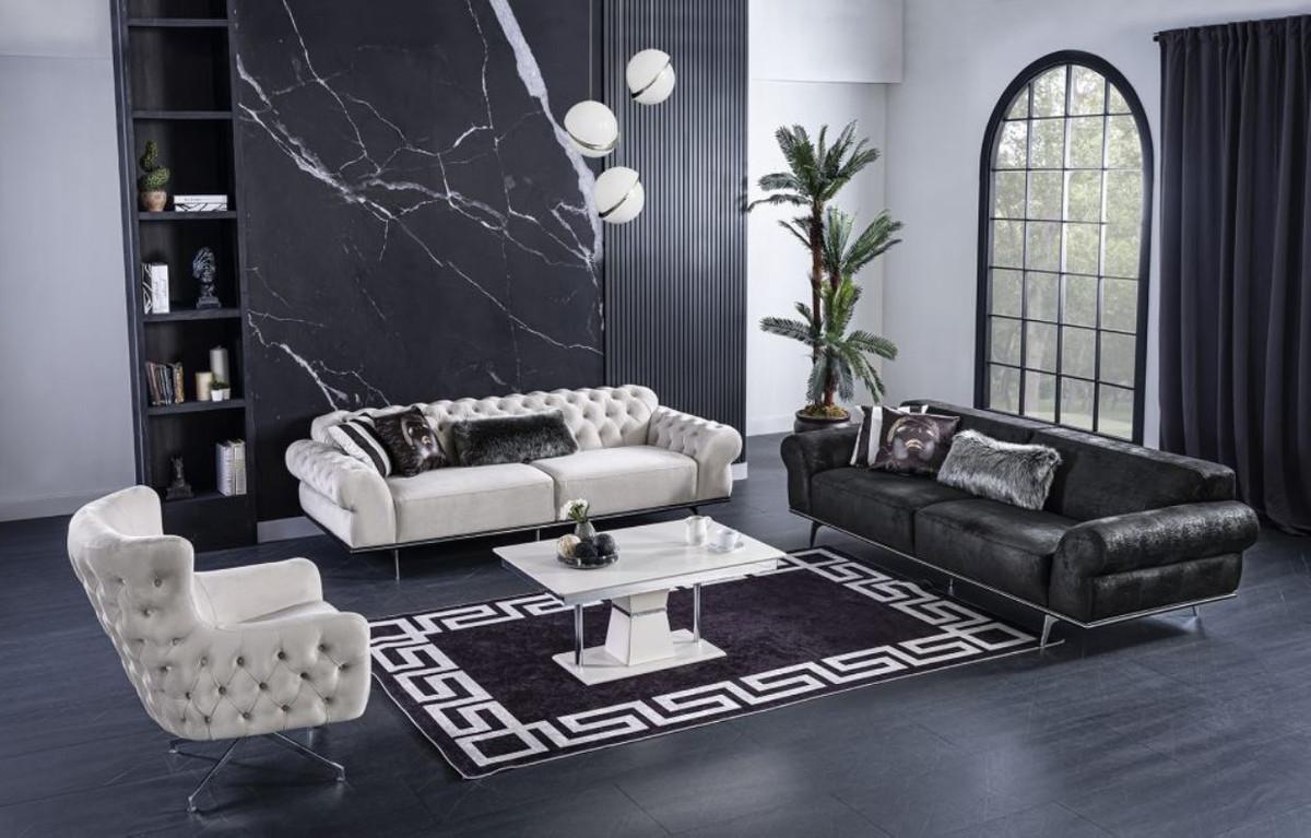Casa Padrino Luxus Art Deco Wohnzimmer Sofa Schwarz / Silber 10 x 10 x H.  10 cm - Luxus Wohnzimmer Möbel