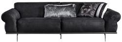 Casa Padrino luxury Art Deco living room sofa black / silver 240 x 95 x H. 63 cm - Luxury living room furniture