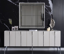 Casa Padrino luxury Art Deco sideboard white / black / silver 208 x 44 x H. 84 cm - Noble cabinet with 5 doors - Art Deco Furniture