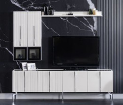 Casa Padrino luxury Art Deco TV cabinet white / black / silver 208 x 44 x H. 64 cm - Noble living room TV cabinet with 4 doors - Art Deco Furniture