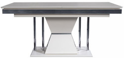 Casa Padrino luxury Art Deco dining table white / gray / silver 164 x 92 x H. 77 cm - Dining room table - Kitchen table - Noble Art Deco dining room furniture