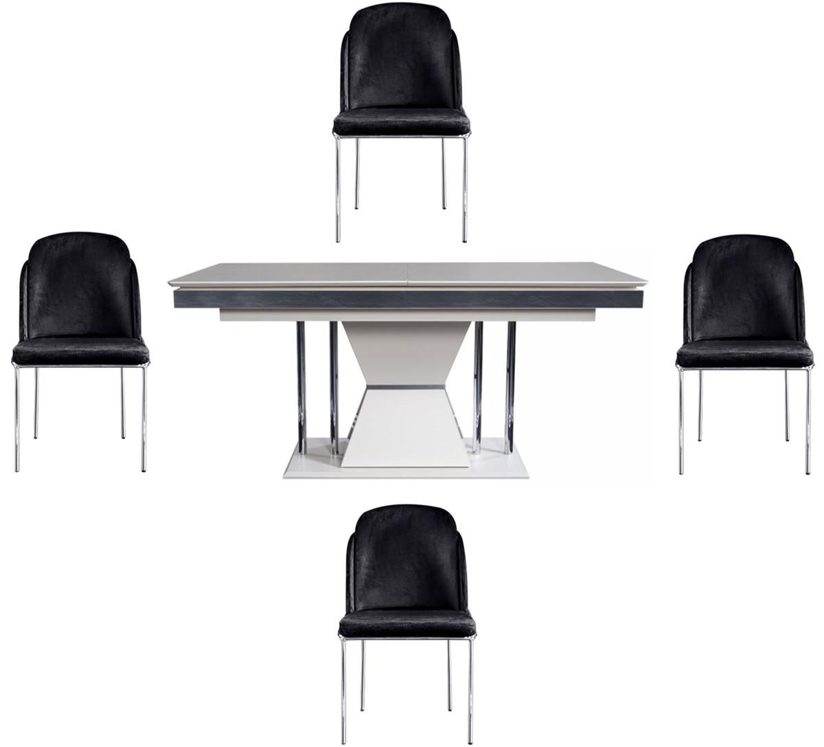 Casa Padrino Set Da Pranzo Art Deco Di Lusso Nero Bianco Grigio Argento 1 Tavolo Da Pranzo E 4 Sedie Da Pranzo Mobili Da Sala Da Pranzo Art Deco Nobile Casa Padrino De