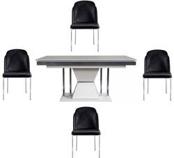 Casa Padrino Luxus Art Deco Esszimmer Set Schwarz / Weiß / Grau / Silber - 1 Esszimmertisch & 4 Esszimmerstühle - Edle Art Deco Esszimmer Möbel