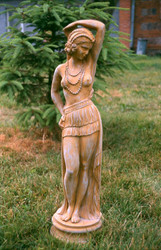 Casa Padrino Jugendstil Skulptur Tänzerin Antik Stil 21 x H 75 cm Antikstil Erdfarben  - Barock Gartendeko - Schwer und Massiv