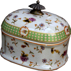Casa Padrino baroque jewelry box with lid white floral pattern porzallan / brass 13.5 x 10 x H. 12 cm - porcelain decoration in baroque style jewelry box