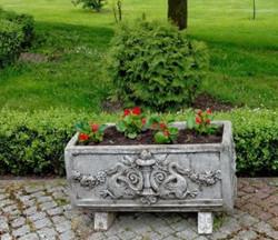 Casa Padrino Barock Blumenkübel Antik Grau 36 x 81 x H. 43 cm - eckiges Blumengefäß im Barockstil - Blumenkübel - Pflanzkübel Jugendstil