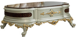 Casa Padrino luxury baroque coffee table dark brown / silver / gold 132 x 95 x H. 50 cm - Magnificent solid wood living room table - Baroque Furniture