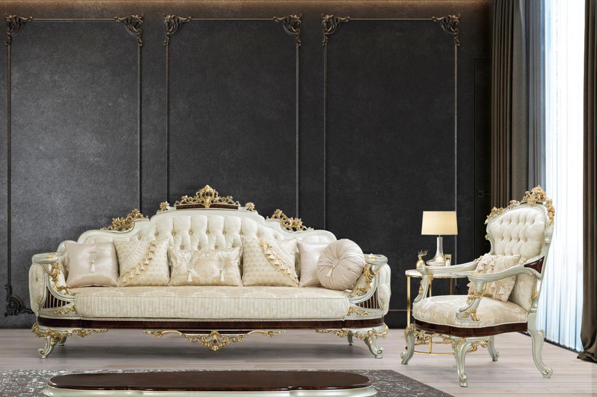 Casa Padrino sillón barroco de lujo crema / beige / marrón oscuro / plata /  oro 20 x 20 x A. 20 cm - Sillón de salón de estilo barroco magnífica con