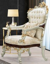 Casa Padrino luxury baroque armchair cream / beige / dark brown / silver / gold 83 x 80 x H. 125 cm - Magnificent baroque style living room armchair with elegant pattern - Baroque Furniture