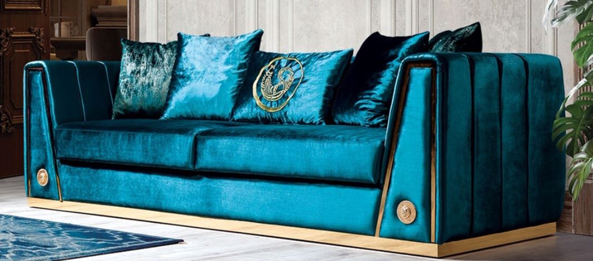Casa Padrino Luxury Couch Turquoise, Turquoise Living Room Furniture