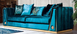 Casa Padrino luxury couch turquoise / gold 260 x 90 x H. 76 cm - Noble living room sofa with decorative pillows - Luxury Furniture