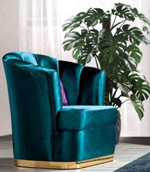 Casa Padrino luxury living room armchair turquoise / gold 80 x 80 x H. 90 cm - Luxury living room furniture