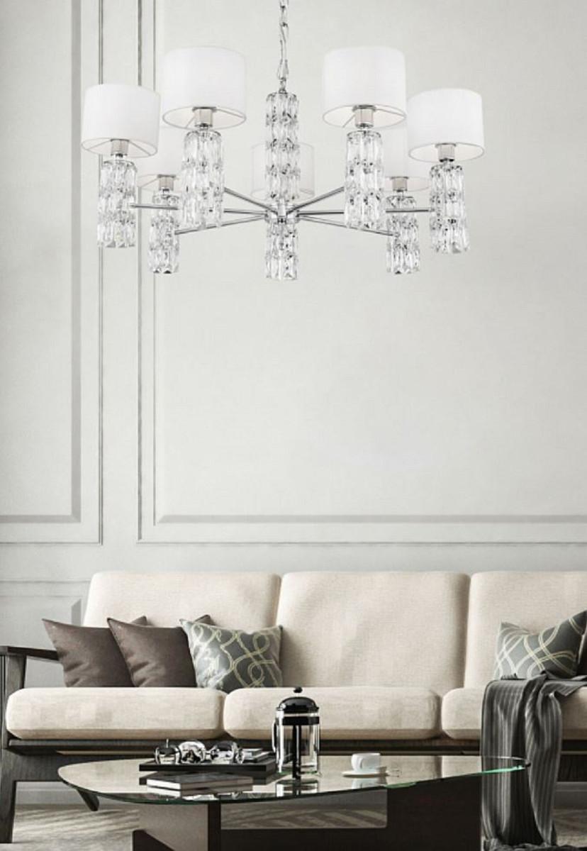 Casa Padrino Designer Kronleuchter Silber / Weiß Ø 10 x H. 10,10 cm -  Moderner Metall Kronleuchter mit eleganten Glaselementen und runden