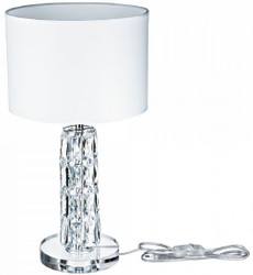Casa Padrino designer table lamp silver / white Ø 25 x H. 44.5 cm - Modern metal desk lamp with elegant glass elements and round lampshade