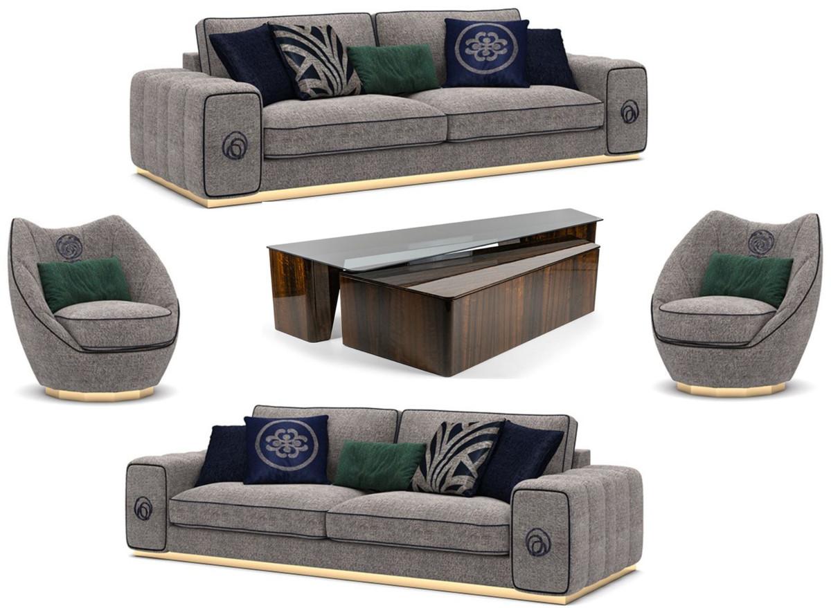 Casa Padrino Luxus Wohnzimmer Set Grau / Braun - 9 Sofas & 9 Sessel & 9  Couchtisch Set - Edle Wohnzimmermöbel - Luxus Möbel