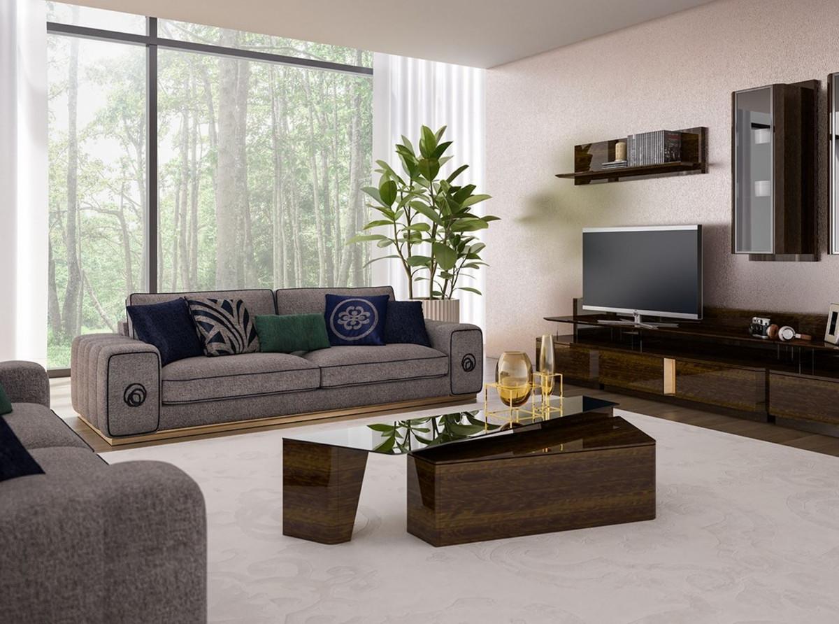 Casa Padrino Luxus Wohnzimmer Set Grau Braun 2 Sofas 2 Sessel 1 Couchtisch Set Edle Wohnzimmermobel Luxus Mobel Barockgrosshandel De