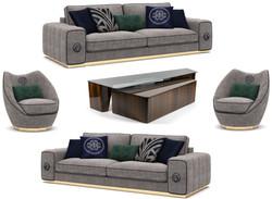 Casa Padrino Luxus Wohnzimmer Set Grau / Braun - 2 Sofas & 2 Sessel & 1 Couchtisch Set - Edle Wohnzimmermöbel - Luxus Möbel