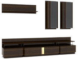 Casa Padrino luxury living room TV cabinet set brown / gray / gold - 1 TV Cabinet & 2 Wall Cabinets & 1 Wall Shelf - Noble living room furniture set - Luxury Quality