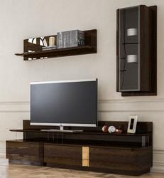 Casa Padrino Luxus Wohnzimmer TV Schrank Set Braun / Grau / Gold - 1 TV Schrank & 1 Hängeschrank & 1 Wandregal - Edles Wohnzimmer Möbel Set - Luxus Qualität