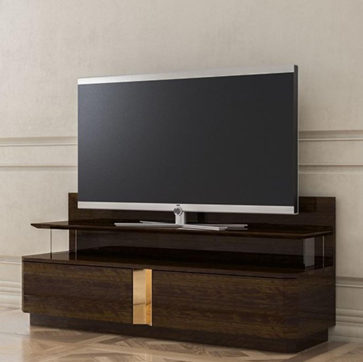 Casa Padrino Luxus Wohnzimmer TV Schrank mit 8 Schubladen Braun / Gold 8  x 8 x H. 8 cm - Edle Wohnzimmer Möbel - Luxus Qualität