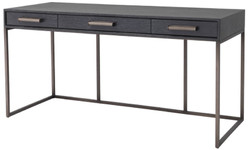 Casa Padrino luxury desk with 3 drawers anthracite gray / bronze 150 x 60 x H. 75 cm - Office Table - Computer Table - Luxury Office Furniture