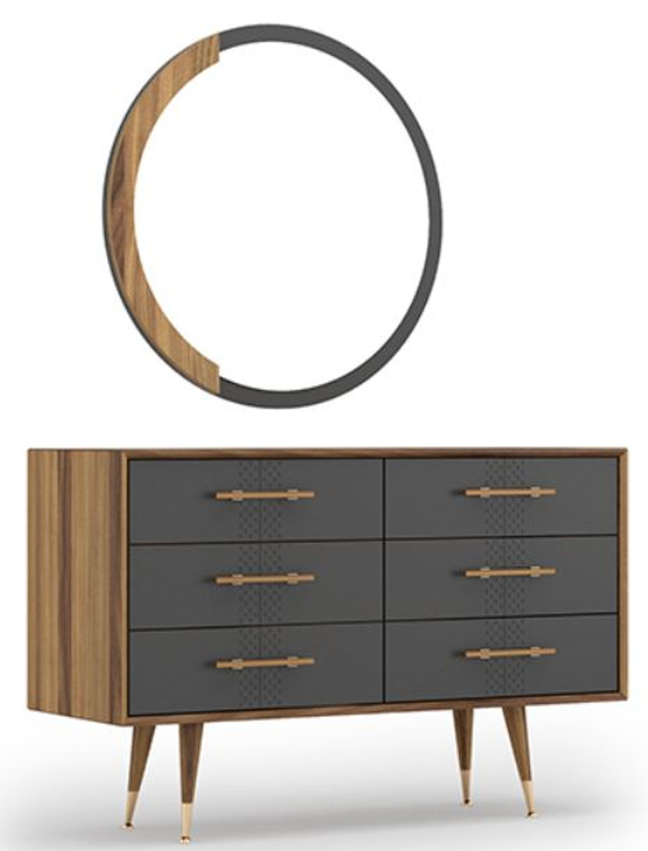 Casa Padrino Luxury Bedroom Set Brown Gray Brass 1 Chest Of Drawers With 6 Drawers 1 Wall Mirror Bedroom Cabinet With Mirror Bedroom Furniture Luxury Collection