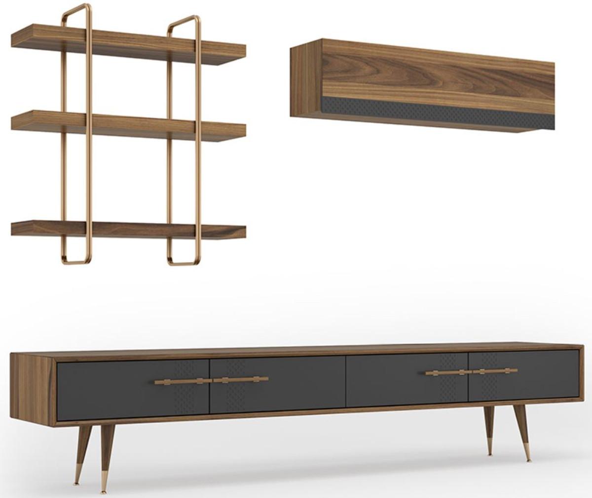 Casa Padrino Luxus Wohnzimmer Tv Schrank Set Braun Grau Messingfarben 1 Tv Schrank 1 Hangeschrank 1 Wandregal Edles Wohnzimmer Mobel Set Luxus Mobel