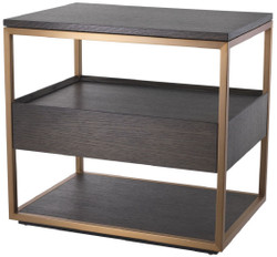Casa Padrino luxury side table with drawer mocha / copper 65 x 46 x H. 61 cm - Oak veneer bedside table with stainless steel frame - Luxury Furniture