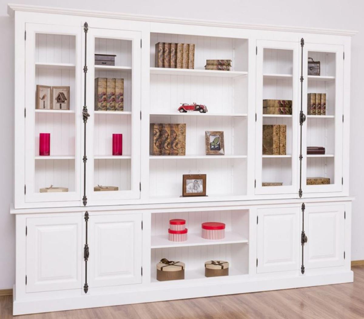 Casa Padrino Landhausstil Bücherschrank Weiß 7 x 7 x H. 7 cm -  Massivholz Schrank - Wohnzimmerschrank - Büroschrank - Landhausstil Möbel