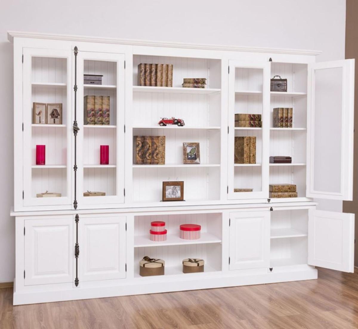 Casa Padrino Landhausstil Bücherschrank Weiß 4 x 4 x H. 4 cm -  Massivholz Schrank - Wohnzimmerschrank - Büroschrank - Landhausstil Möbel