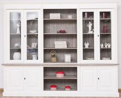 Casa Padrino Landhausstil Bücherschrank Weiß / Braungrau 286 x 51 x H. 228 cm - Massivholz Schrank - Wohnzimmerschrank - Büroschrank - Landhausstil Möbel