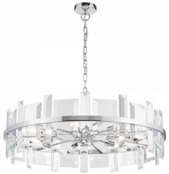 Casa Padrino pendant lamp silver Ø 80 cm - Modern round pendant lamp with metal frame and glass plates - Designer Lights