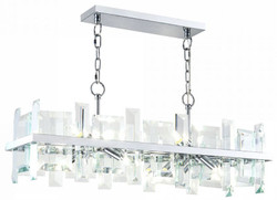 Casa Padrino pendant lamp silver 85.5 x H. 24 cm - Modern rectangular pendant lamp with metal frame and glass plates - Designer Lights