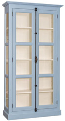 Casa Padrino country style showcase light blue / cream 109 x 40 x H. 210 cm - Solid wood cabinet with 2 glass doors - Display cabinet - Country Style Furniture