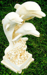 Casa Padrino Art Nouveau gargoyle sculpture dolphins white / sand H. 80 cm - Garden decoration gargoyle figure - Garden decoration accessories