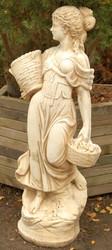 Casa Padrino Art Nouveau garden decoration sculpture girl with baskets sand / beige 50 x 37 x H. 136 cm - Garden & Terrace Decoration Accessories