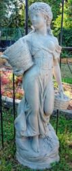 Casa Padrino Jugendstil Gartendeko Skulptur Mädchen mit Körben Grau 50 x 37 x H. 136 cm - Garten & Terrassen Deko Accessoires