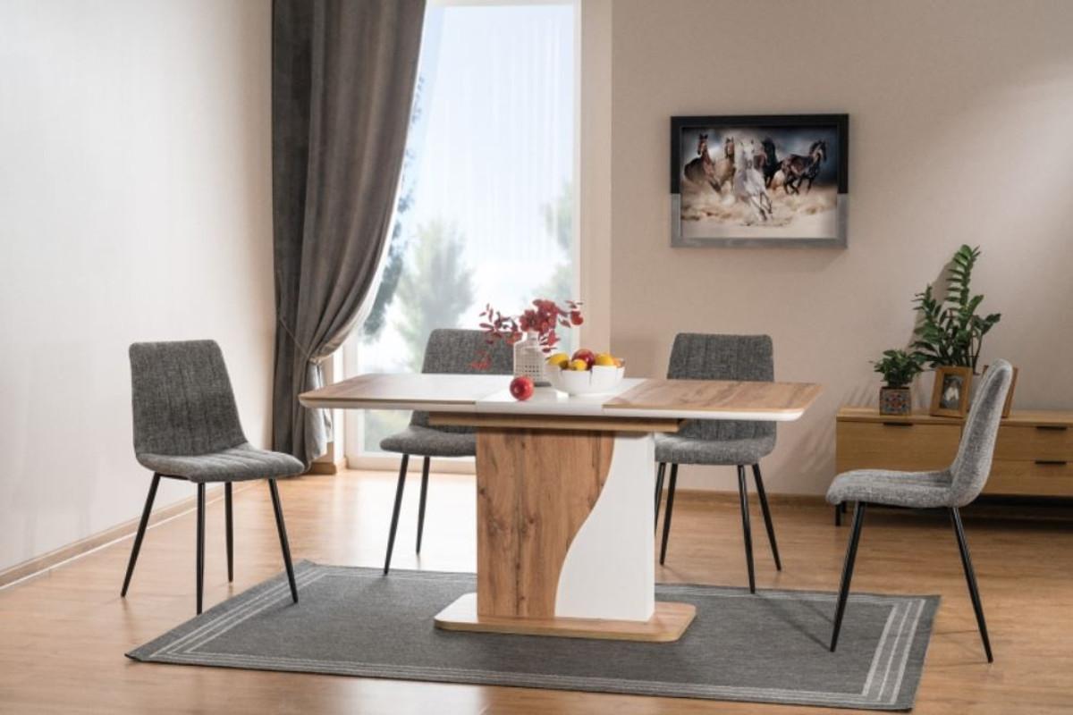 Casa Padrino Designer Esstisch Naturfarben Matt Weiss 120 160 X 80 X H 76 Cm Moderner Rechteckiger Ausziehbarer Kuchentisch Kuchen Mobel