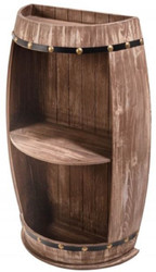 Casa Padrino solid wood wine cabinet in barrel shape brown 50 x 25 x H. 79 cm - Semi-circular solid wood wine rack - Bar table semi-circular - Wooden barrel cabinet - Wine barrel cabinet - Bar Furniture
