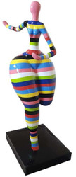 Casa Padrino designer decorative sculpture dancing woman multicolor striped H. 130 cm - Garden Decorative Sculpture - Weatherproof Decorative Figure - Decorative Accessories