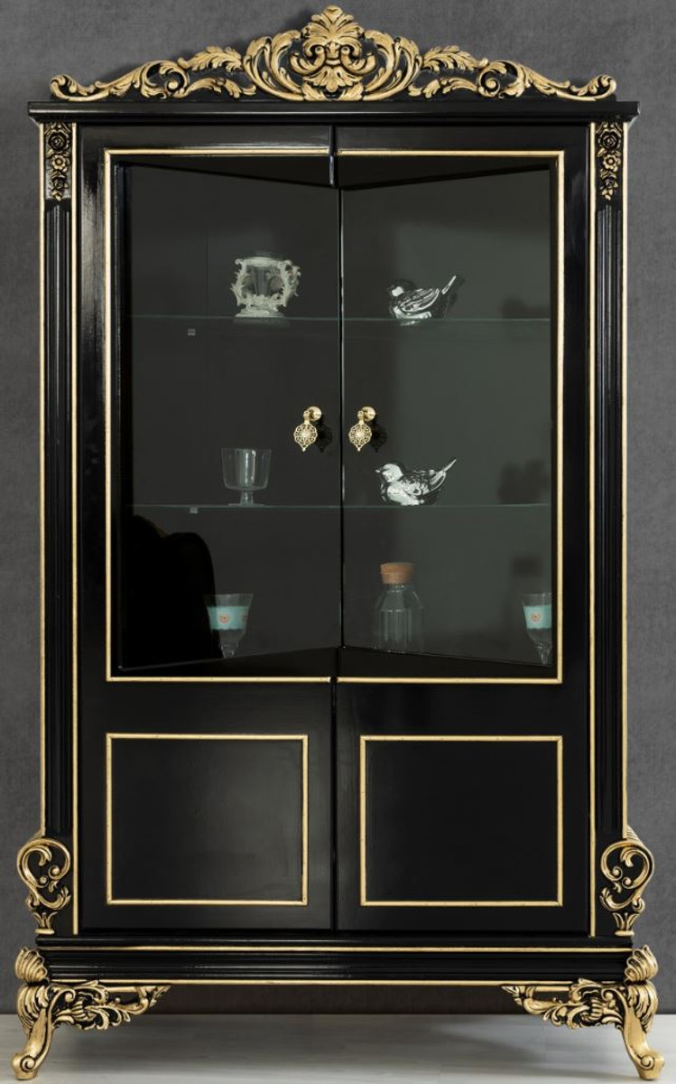 Casa Padrino luxury baroque living room display cabinet black / gold 200 x  200 x H. 200 cm   Sumptuous baroque display cabinet with 20 glass doors   ...