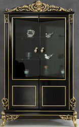 Casa Padrino luxury baroque living room display cabinet black / gold 130 x 55 x H. 210 cm - Sumptuous baroque display cabinet with 2 glass doors - Noble Baroque Furniture
