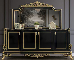 Casa Padrino Luxus Barock Möbel Set Schwarz / Gold - 1 Sideboard mit 4 Türen & 1 Spiegel - Edle Barock Möbel - Edel & Prunkvoll
