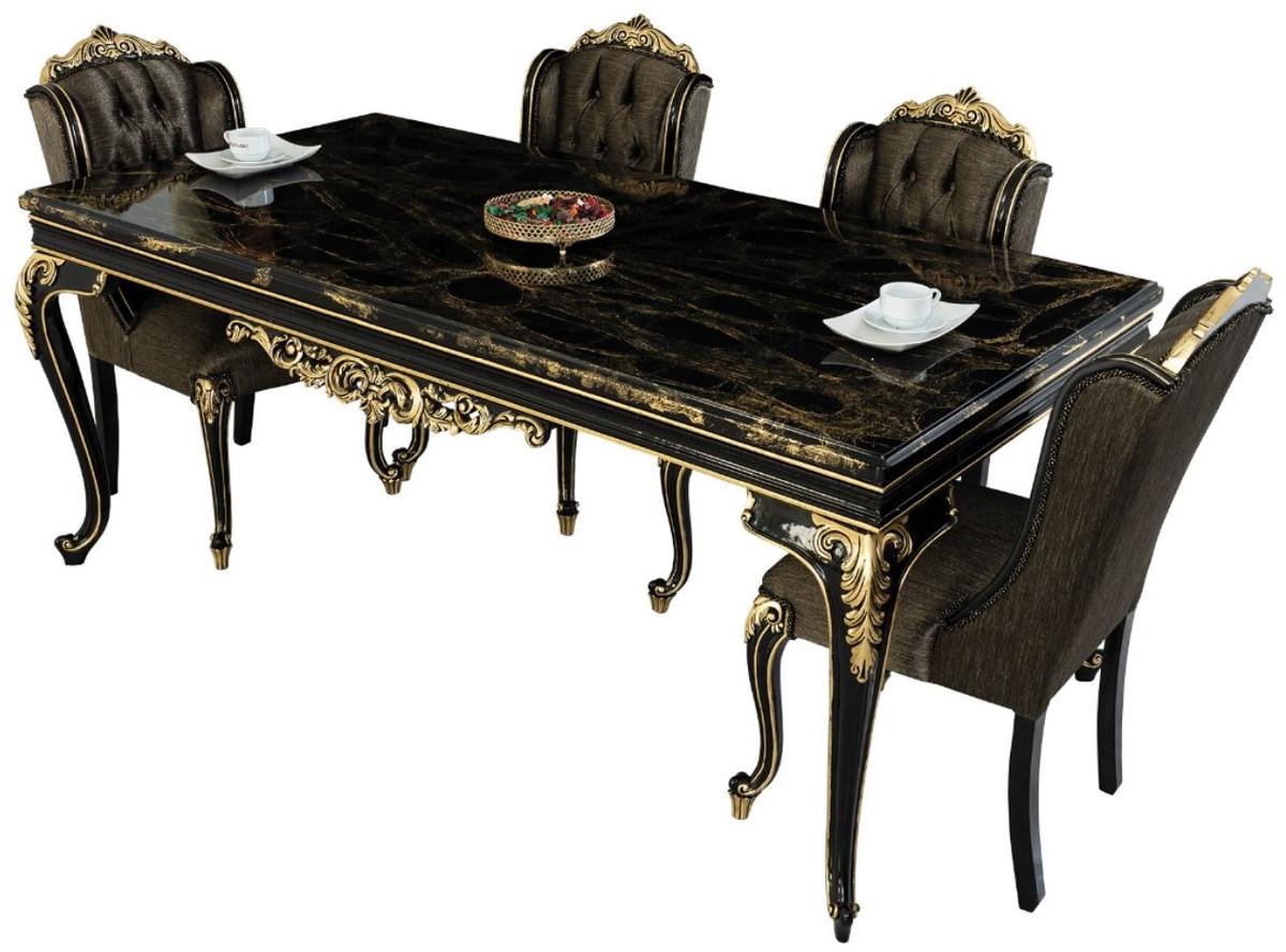 Casa Padrino Luxury Baroque Dining Set Black / Gold   9 Dining Table & 9  Dining Chairs   Noble Baroque Dining Furniture   Noble & Sumptuous