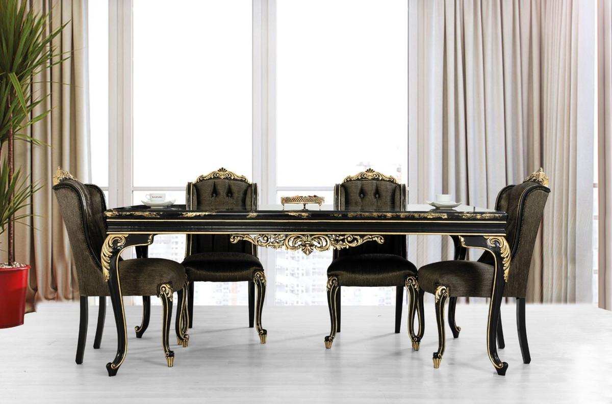Casa Padrino Luxury Baroque Dining Set Black Gold 1 Dining Table 6 Dining Chairs Noble Baroque Dining Furniture Noble Sumptuous